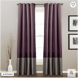 Eggplant Purple Two-Toned Window Curtain Panels
